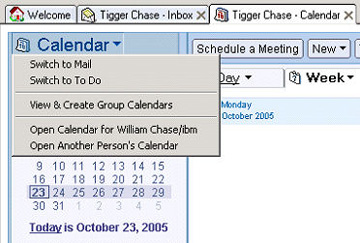新菜单选项 Open Calendar for William Chase
